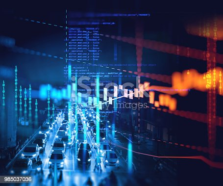 913603748 istock photo double exposure image of stock market investment graph and city skyline scene. 985037036
