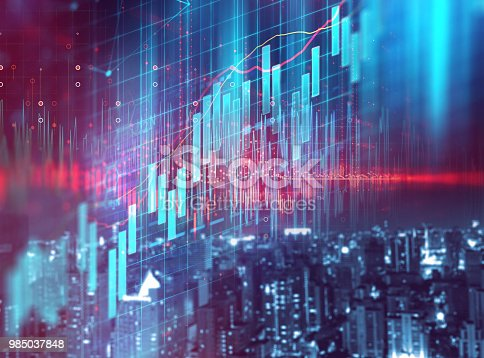 913603748 istock photo double exposure image of stock market investment graph and city skyline scene. 985037848