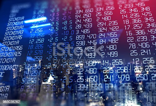 913603748 istock photo double exposure image of stock market investment graph and city skyline scene. 985038262