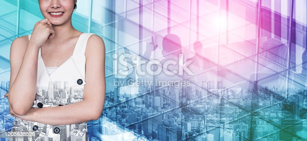 1079450712 istock photo Double Exposure Image of Success Business People 1205638526
