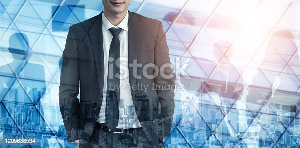 1079450712 istock photo Double Exposure Image of Success Business People 1205638594