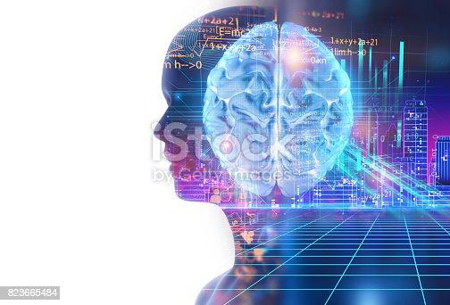 1054574018istockphoto double exposure image of virtual human 3d illustration 823665484