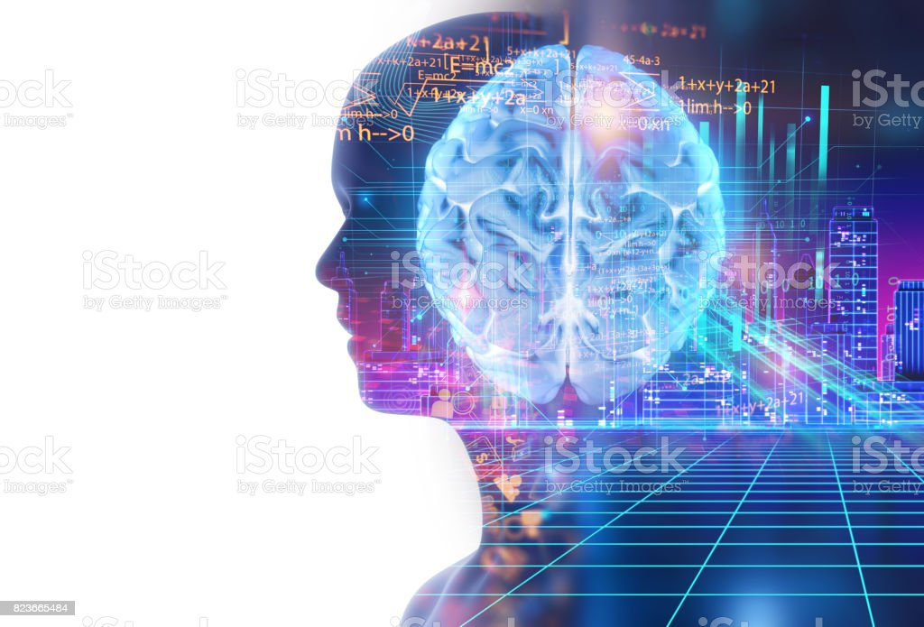 double exposure image of virtual human 3d illustration stock photo