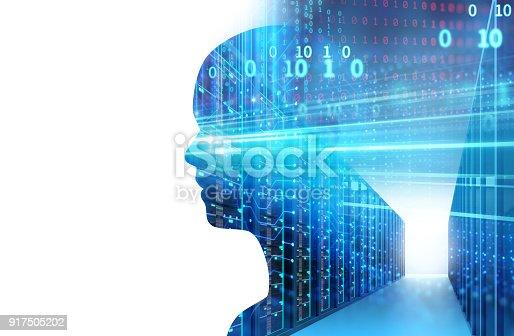 1054574018istockphoto double exposure image of virtual human 3d illustration 917505202
