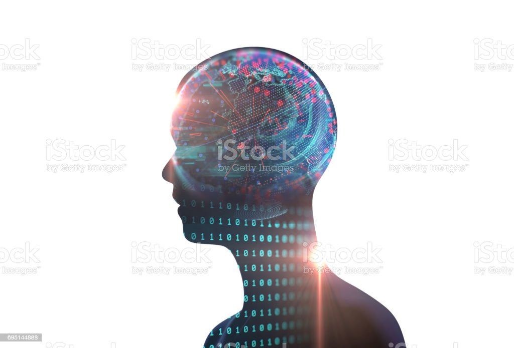 double exposure image of virtual human 3dillustration stock photo