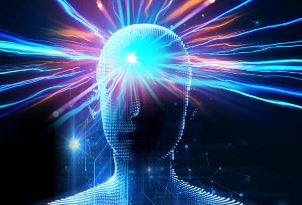 가상 인간의 뇌 3d삽화의 이중 노출 이미지 - double exposure 뉴스 사진 이미지