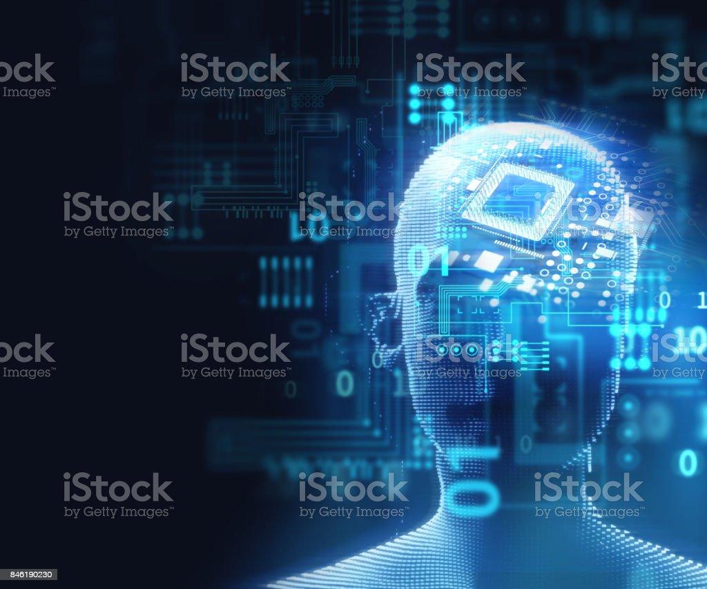 double exposure image of virtual human head 3d illustration stock photo