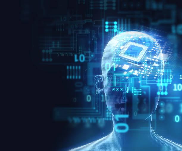 doppelte Belichtung Bild des virtuellen Menschen Kopf 3d Illustration – Foto