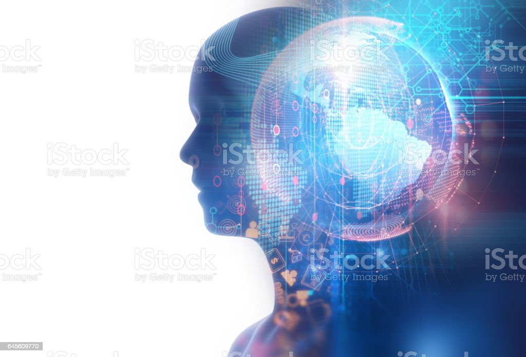double exposure image of virtual human on world map 3dillustration stock photo
