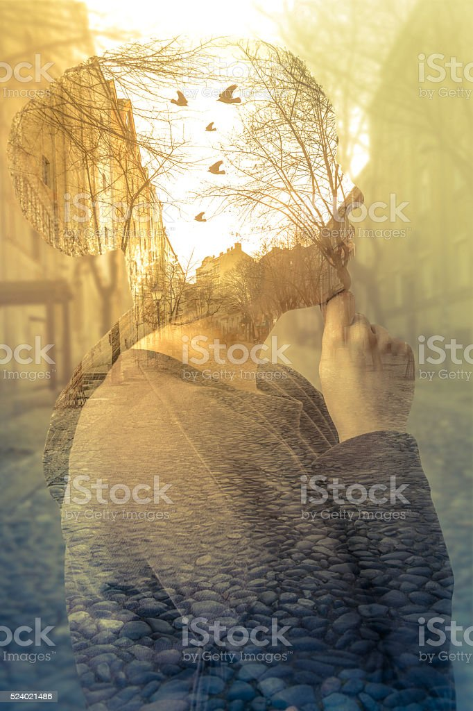 Double exposure image of woman, imagination concept stock photo