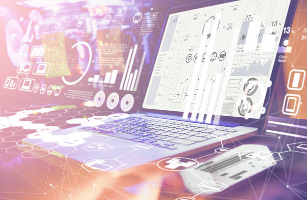 Double Exposure. Laptop with financial statistics on a desktop – Foto