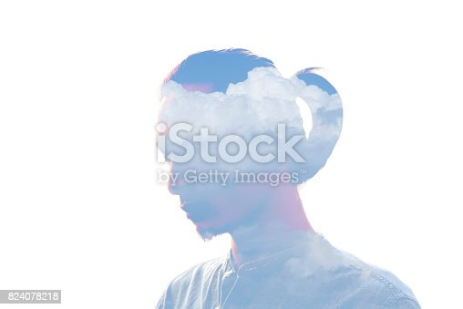 498089686 istock photo Double exposure man and and blue clouds. Creative portrait. 824078218