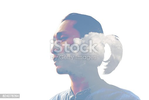 498089686 istock photo Double exposure man and and blue clouds. Creative portrait. 824078264