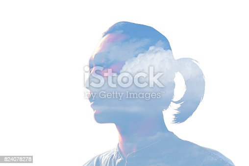 498089686 istock photo Double exposure man and and blue clouds. Creative portrait. 824078278