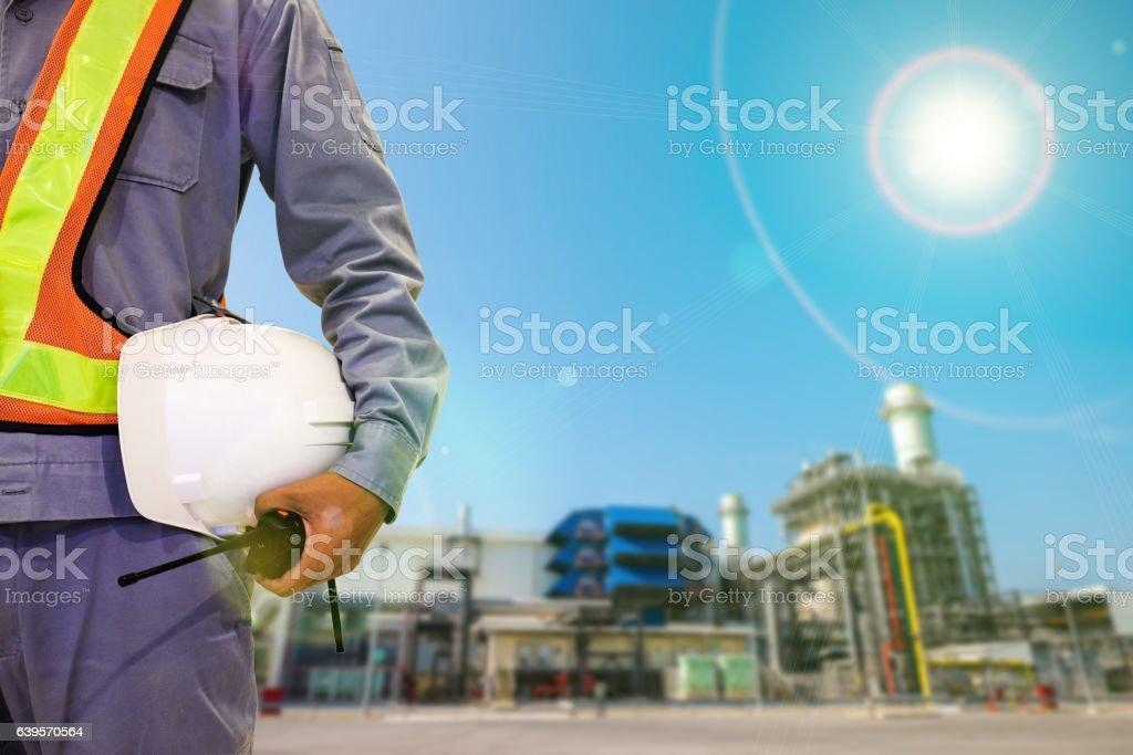 Double exposure mechanical engineer or civil engineer against power...