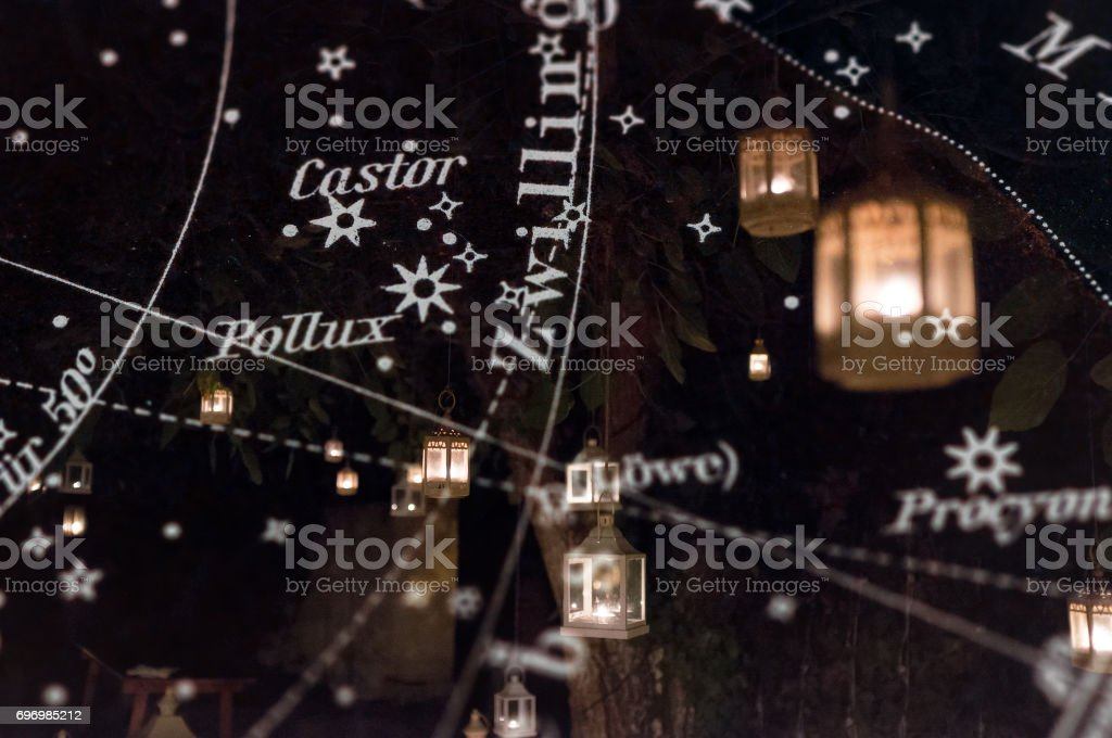 Double exposure: Night scene with lanterns and constellation star astronomy map diagram stock photo