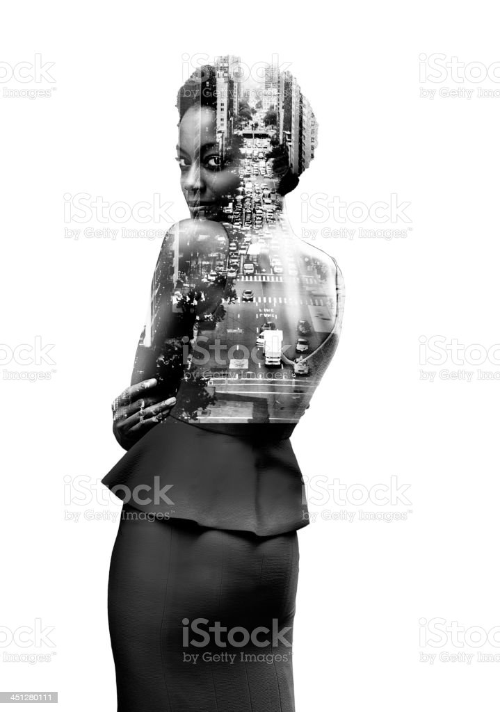 Double Exposure o woman and New York stock photo