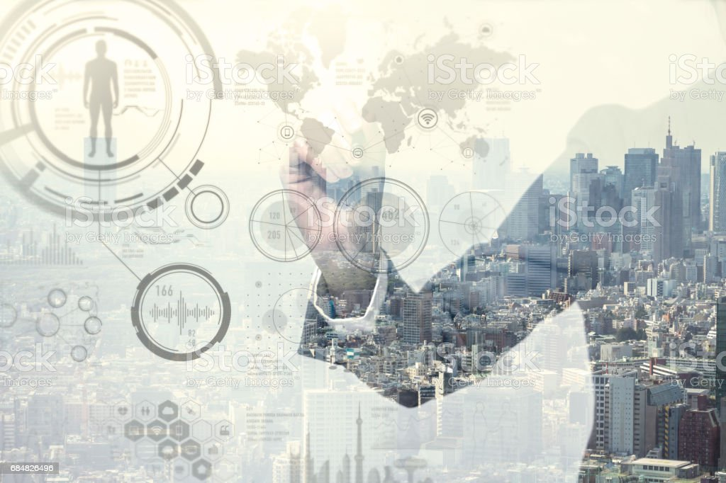 double exposure of a business person and industrial HUD interface, futuristic GUI(Graphical User Interface), IoT(Internet of Things), technological abstract stock photo