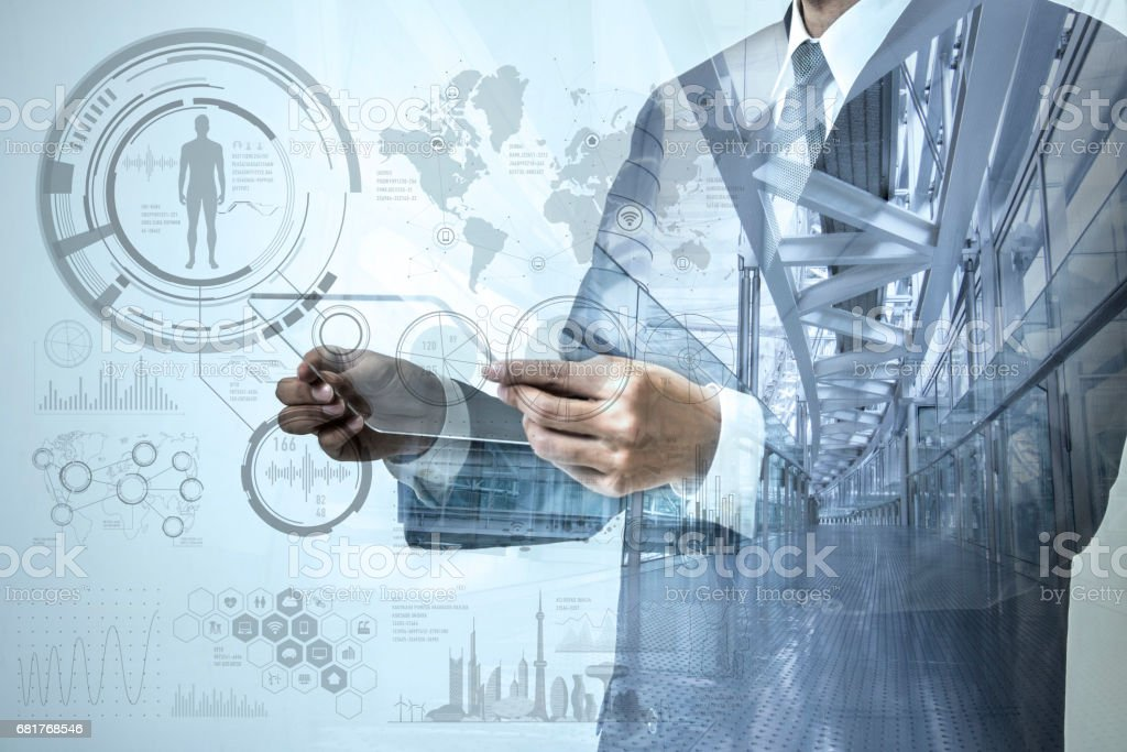double exposure of a business person and modern office interior, futuristic GUI(Graphical User Interface), IoT(Internet of Things), technological abstract stock photo