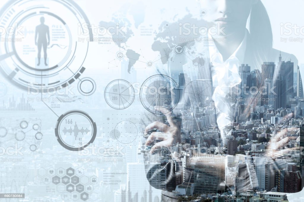 double exposure of a business person and smart city concept stock photo