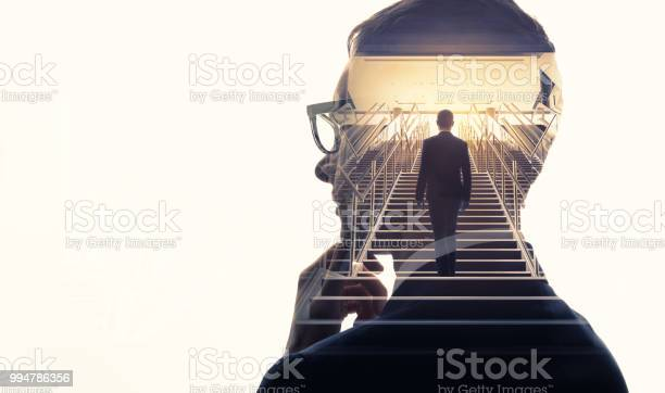 Double Exposure Of A Businessman And Stairs Success Of Business Concept - Fotografias de stock e mais imagens de A Escada do Sucesso