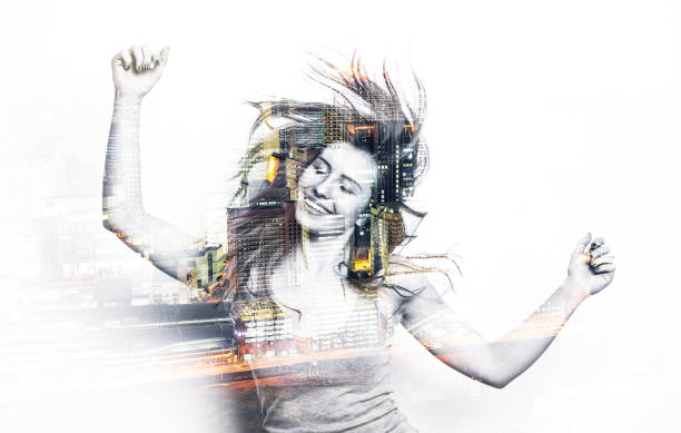 Double exposure of a dancing woman stock photo