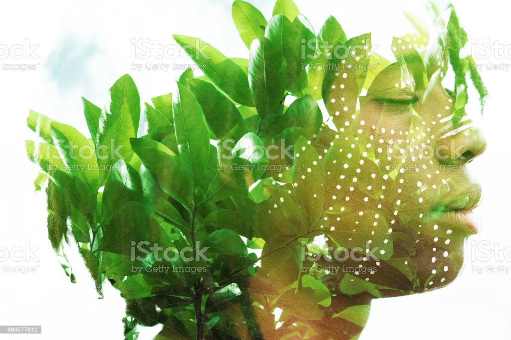 Double exposure of a dark skinned man with dreadlocks and closed eyes combined with a photograph of a beautiful green lush plants stock photo