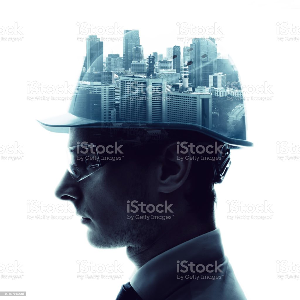 Double exposure of a engineer and urban cityscape. royalty-free stock photo