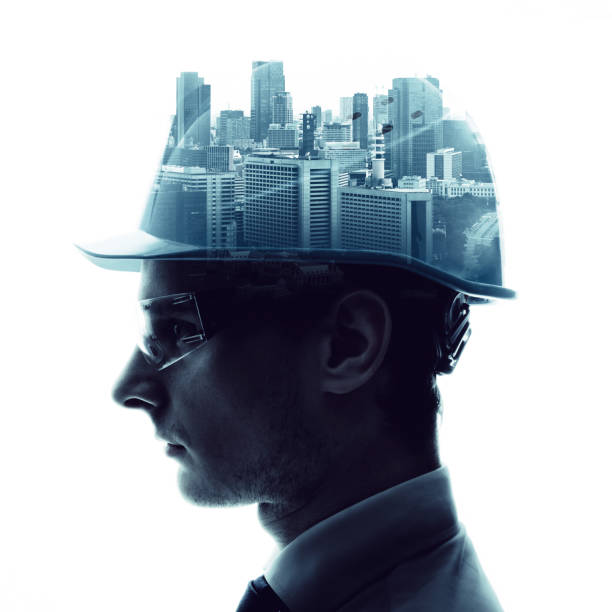 Double exposure of a engineer and urban cityscape. stock photo