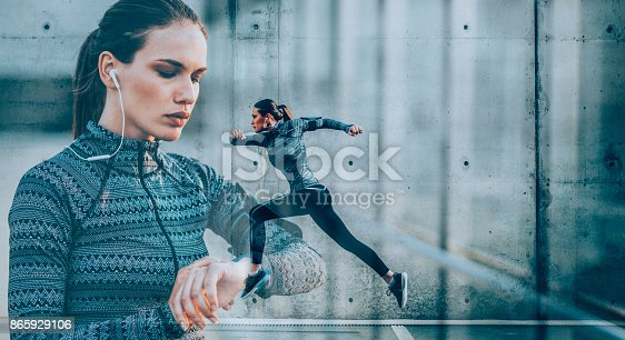 istock Double exposure of a woman running in the city 865929106