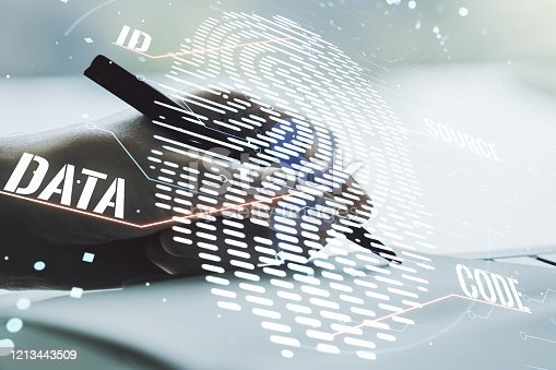 957759714 istock photo Double exposure of abstract creative fingerprint hologram with man hand writing in notepad on background, protection of personal information concept 1213443509
