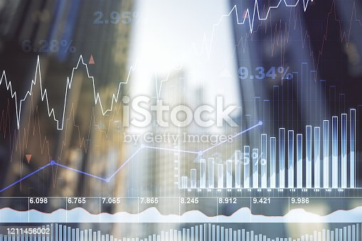 Double exposure of abstract financial diagram on office buildings background, banking and accounting concept