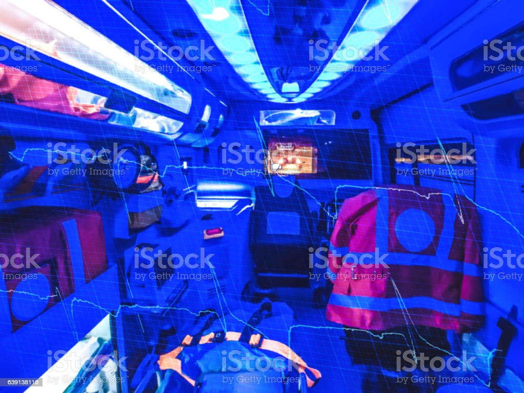 Double exposure of an ambulance stock photo