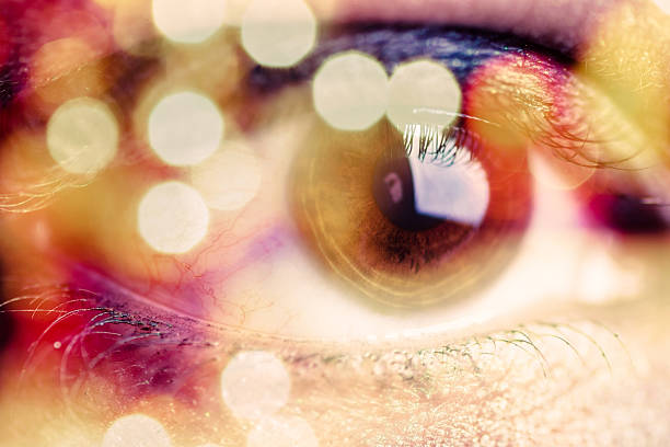 double exposure of an eye with bokeh - sezme stok fotoğraflar ve resimler