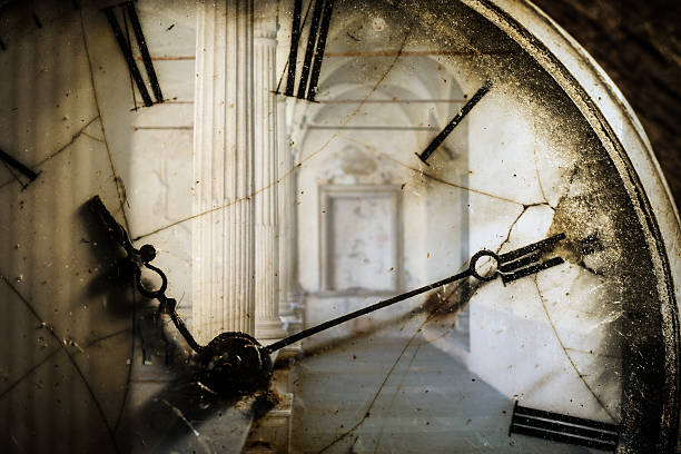 Double exposure of antique pocket watch and old architecture stock photo