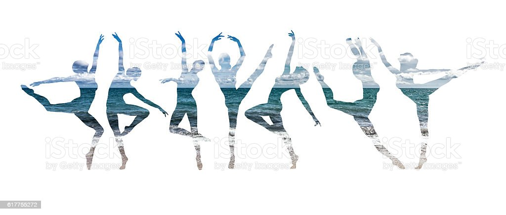 Double exposure of ballet dancers silhouette and seascape stock photo