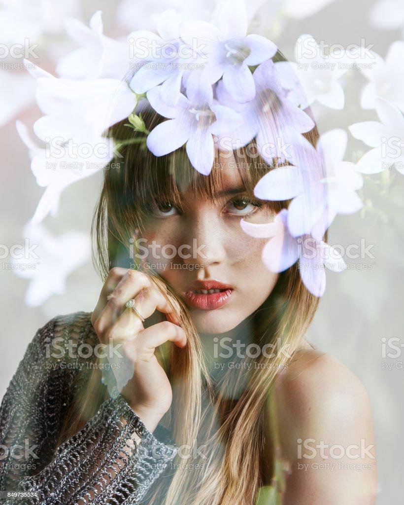 Double exposure of beautiful girl with freckles and white flowers double exposure of beautiful girl with freckles and white flowers royalty free stock photo izmirmasajfo
