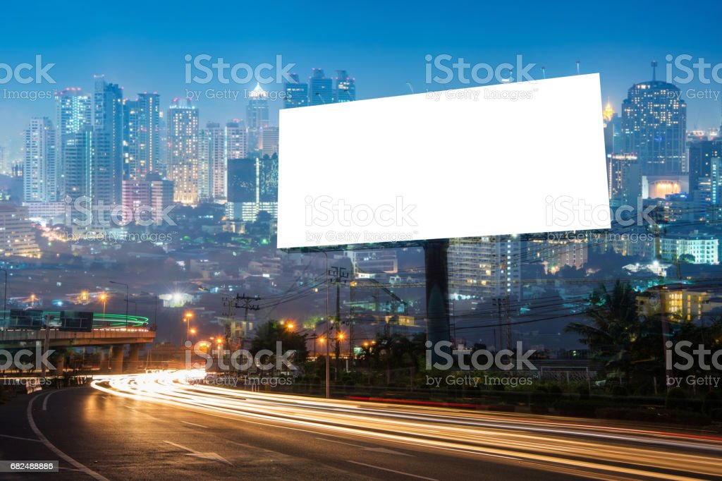 Double exposure of blank billboard for business advertisement with city background Lizenzfreies stock-foto