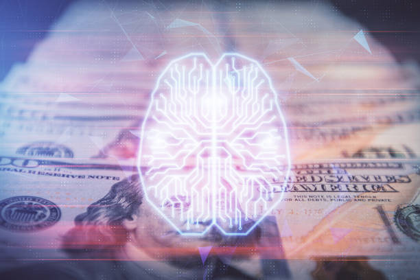 Double exposure of brain drawing over us dollars bill background. Technology concept. stock photo