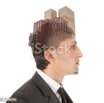 1079450712 istock photo Double exposure of business man with skyscrapers isolated 491088280
