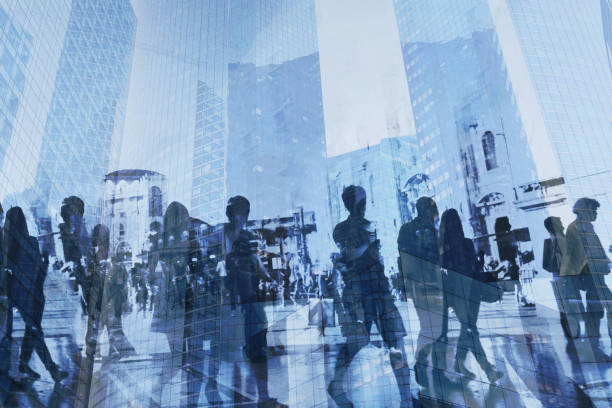 double exposure of business people walking on the street stock photo