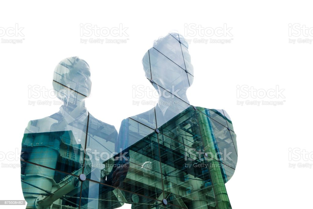 Double exposure of business person and cityscape. royalty-free stock photo