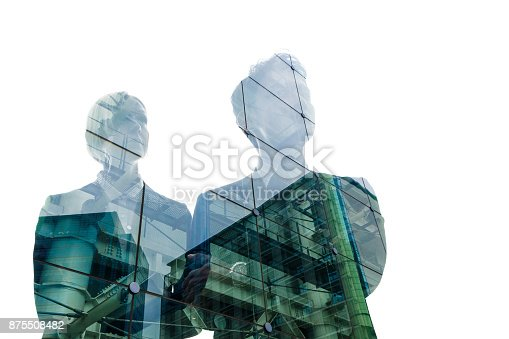 istock Double exposure of business person and cityscape. 875508482