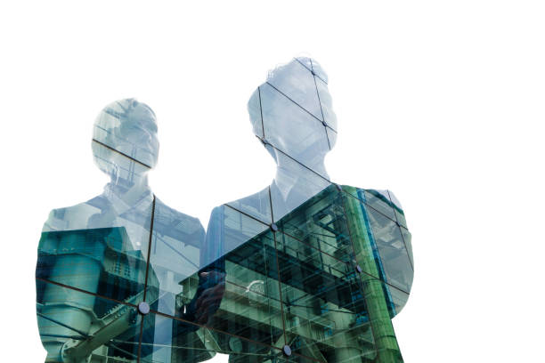 Double exposure of business person and cityscape. Double exposure of business person and cityscape. multiple exposure stock pictures, royalty-free photos & images