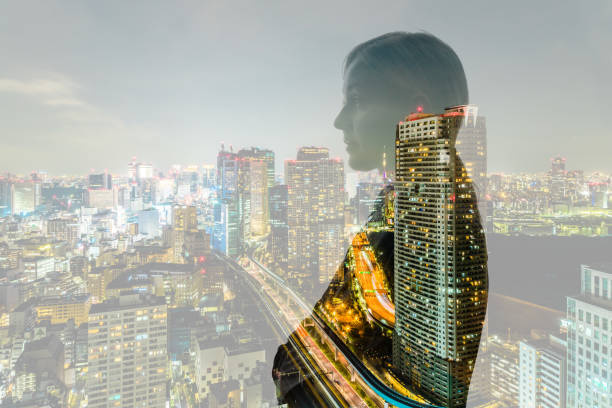 Double exposure of business person and cityscape. stock photo