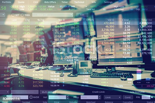 1054574038 istock photo Double exposure of business stock trading room with computer and graph for Business Trading concept. 806594114