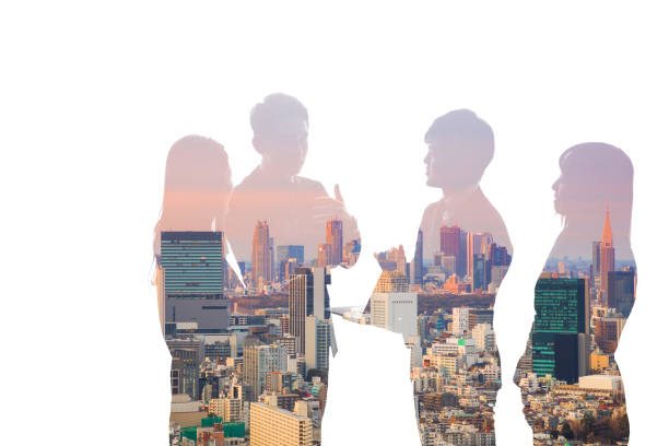 double exposure of business team and urban cityscape. - asia orientale foto e immagini stock