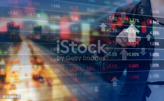istock Double exposure of business woman and stock market graph 511198842