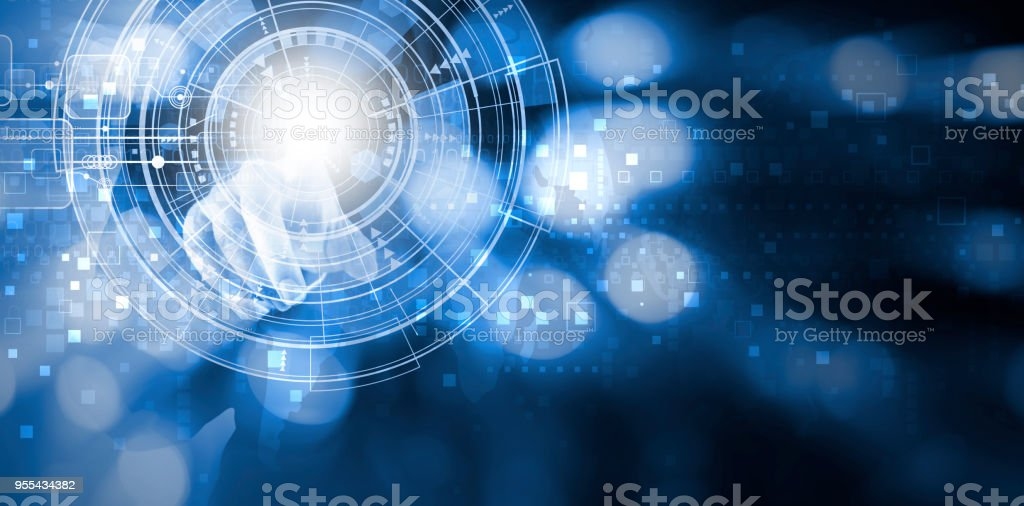Double exposure of business woman hand touching digital technology design with copy space stock photo