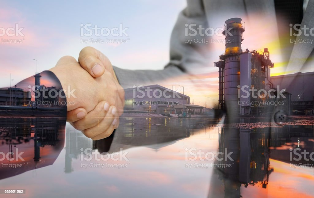Double exposure of business women double handshake - foto de stock